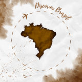 Brazil watercolor map in sepia colors. Royalty Free Stock Image