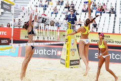 Brazil women play volleyball in Country Quota. MOSCOW - JUNE 6: Brazil women play volleyball in Country Quota at tournament Grand Slam of beach volleyball 2012 Stock Image