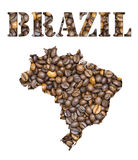 Brazil word and country map shaped with coffee beans background Stock Photography