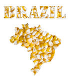 Brazil word and country map shaped with corn seeds Royalty Free Stock Photos