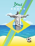 Brazil world cup. With ball and christ the redeemer statue Royalty Free Stock Photography