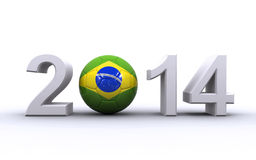 Brazil 2014. World cup in Brazil 2014 concept with brazilian flag styled soccer ball on the white background (3d render Royalty Free Stock Photography