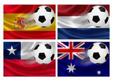 Brazil World Cup 2014 Group B. 3D flags of World Cup Brazil 2014 Group B teams, with soccer ball streaking across. Isolated on white Royalty Free Stock Images