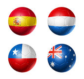 Brazil world cup 2014 group B flags on soccer ball. 3D soccer balls with group B teams flags, Football world cup Brazil 2014. isolated on white Stock Images