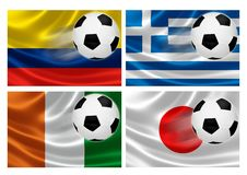 Brazil World Cup 2014 Group C. 3D flags of World Cup Brazil 2014 Group C teams, with soccer ball streaking across. Isolated on white Royalty Free Stock Photos