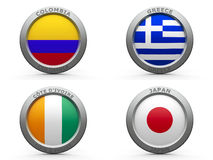 Brazil world cup 2014 group C. Emblems - Brazil world cup 2014 group C, three-dimensional rendering Stock Images