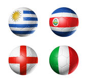Brazil world cup 2014 group D flags on soccer ball. 3D soccer balls with group D teams flags, Football world cup Brazil 2014. isolated on white Royalty Free Stock Image