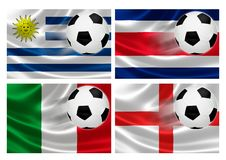 Brazil World Cup 2014 Group D. 3D flags of World Cup Brazil 2014 Group D teams, with soccer ball streaking across. Isolated on white Stock Photos