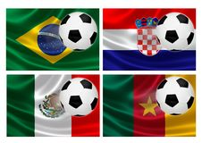 Brazil World Cup 2014 Group A. 3D flags of World Cup Brazil 2014 Group A teams, with soccer ball streaking across. Isolated on white Royalty Free Stock Photos
