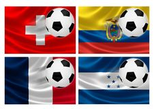 Brazil World Cup 2014 Group E. 3D flags of World Cup Brazil 2014 Group E teams, with soccer ball streaking across. Isolated on white Stock Photography