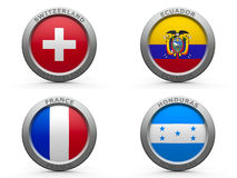 Brazil world cup 2014 group E. Emblems - Brazil world cup 2014 group E, three-dimensional rendering Stock Image