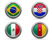 Brazil world cup 2014 group A. Emblems - Brazil world cup 2014 group A, three-dimensional rendering Stock Photos