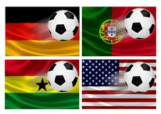 Brazil World Cup 2014 Group G. 3D flags of World Cup Brazil 2014 Group G teams, with soccer ball streaking across. Isolated on white Stock Photos