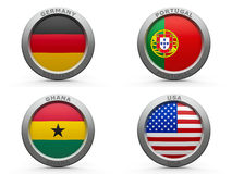 Brazil world cup 2014 group G. Emblems - Brazil world cup 2014 group G, three-dimensional rendering Stock Photography
