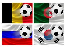 Brazil World Cup 2014 Group H. 3D flags of World Cup Brazil 2014 Group H teams, with soccer ball streaking across. Isolated on white Royalty Free Stock Photos