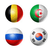 Brazil world cup 2014 group H flags on soccer ball. 3D soccer balls with group H teams flags, Football world cup Brazil 2014. isolated on white Royalty Free Stock Photography