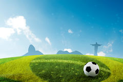 Brazil World Cup. The soccer field with Brazilian skyline background Royalty Free Stock Image