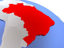 Brazil on world map. Map of Brazil on elegant silver 3D globe with blue oceans. 3D illustration Stock Images