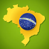 Brazil 2014 world soccer championship country map ball shape ill. 2014 brazil country map soccer ball flag world tournament concept illustration. Vector file Royalty Free Stock Photos