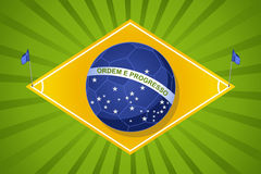 Brazil 2014 world soccer championship, court flag ball compositi. 2014 brazil football court soccer ball flag shape, world tournament concept illustration Royalty Free Stock Photo