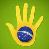 Brazil 2014 world soccer championship human hand flag ball shape. 2014 brazil human hand soccer ball flag shape world tournament concept illustration. Vector Royalty Free Stock Images