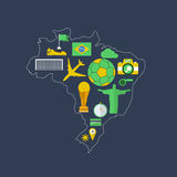 Brazil worldcup event flat design Royalty Free Stock Image
