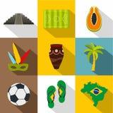 Brazilan symboli/lów ikony set, mieszkanie styl Fotografia Stock