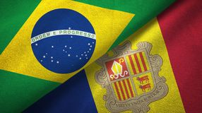 Brazilië en Andorra twee vlaggen textieldoek, stoffentextuur royalty-vrije illustratie