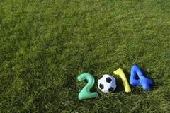 Brazilië kleurt Blauwgroene Gele het Grasachtergrond van het Voetbal 2014 Bericht Stock Foto's