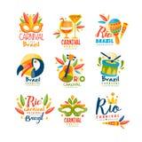 Brazilië, Rio Carnival-de reeks van het embleemontwerp, heldere feestelijke partijbanner met maskerademaskers, maracas, toekan, m stock illustratie
