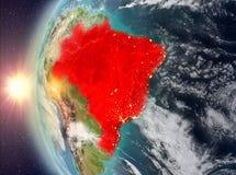 Brazilië tijdens zonsondergang van ruimte Royalty-vrije Stock Foto's