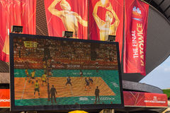 Brazilië versus de halve finalegelijke van Frankrijk Stock Foto's