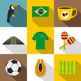 Brazilia ikony set, mieszkanie styl Zdjęcie Royalty Free