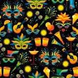 Braziliaans Carnaval Vector naadloos patroon stock illustratie