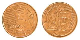 5 Braziliaans echt centavosmuntstuk Stock Foto's