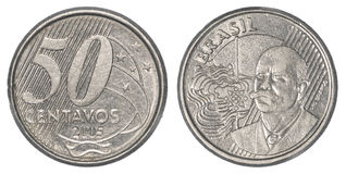 50 Braziliaans echt centavosmuntstuk Stock Afbeeldingen