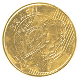 25 Braziliaans echt centavosmuntstuk Stock Foto