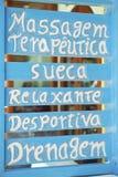 Braziliaans het Teken Met de hand geschilderd Blauw van de Massagetherapie Stock Foto