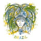 Braziliaanse Carnaval-vrouw in festivalkostuum met plonsen in waterverfstijl stock illustratie