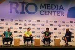 Braziliaanse de Winnaarspersconferentie van de turnersmedaille stock foto's