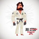 Braziliaanse jioe-jitsoebjj vechter karakterontwerp met logotype - vectorillustratie royalty-vrije illustratie