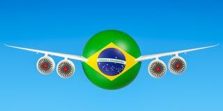 Braziliaanse luchtvaartlijnen en flying& x27; s, vluchten aan het concept van Brazilië 3D r Royalty-vrije Stock Foto