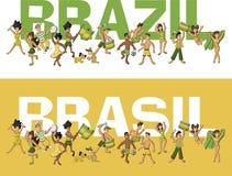 Braziliaanse mensen die pret hebben royalty-vrije illustratie