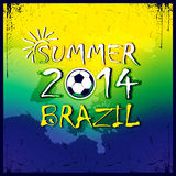 Braziliaanse voetbalaffiche De zomer van 2014 Stock Fotografie
