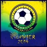 Braziliaanse voetbalaffiche De zomer van 2014 Stock Afbeelding