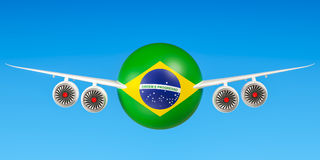 Brazilian airlines and flying& x27;s, flights to Brazil concept. 3D r Royalty Free Stock Photo