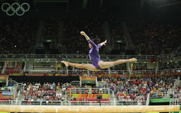 Brazilian artistic gymnast Rebeca Andrade competes on the balance beam at women`s all-around gymnastics at Rio 2016 Olympic Games Stock Image