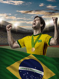 Brazilian Athlete Celebrating Stock Photo