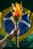 Brazilian Athlete Holding Sport Torch Brazil Flag Royalty Free Stock Photography