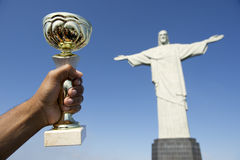 Brazilian Athlete Holding Trophy Corcovado Rio Brazil Stock Images